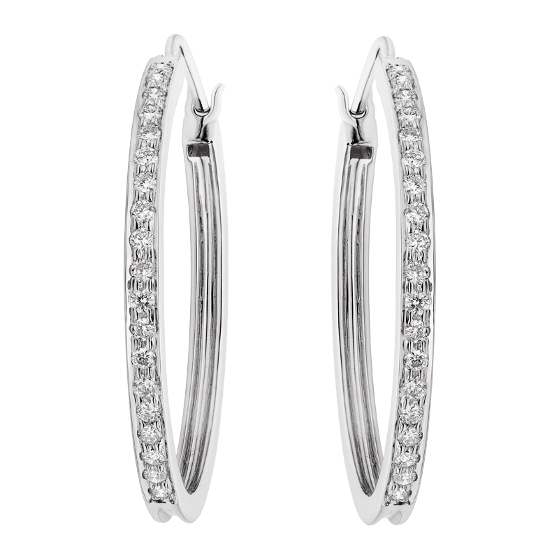 A Pair of Diamond Hoops, Set Front, Side & Back