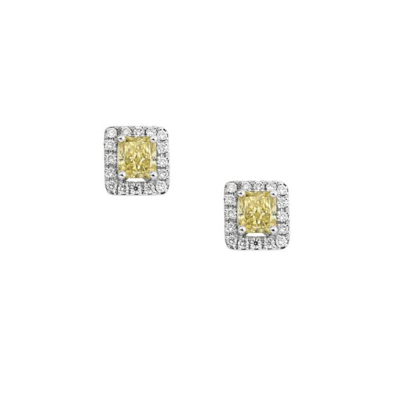 A Pair of Radiant Cut Yellow Diamond Studs