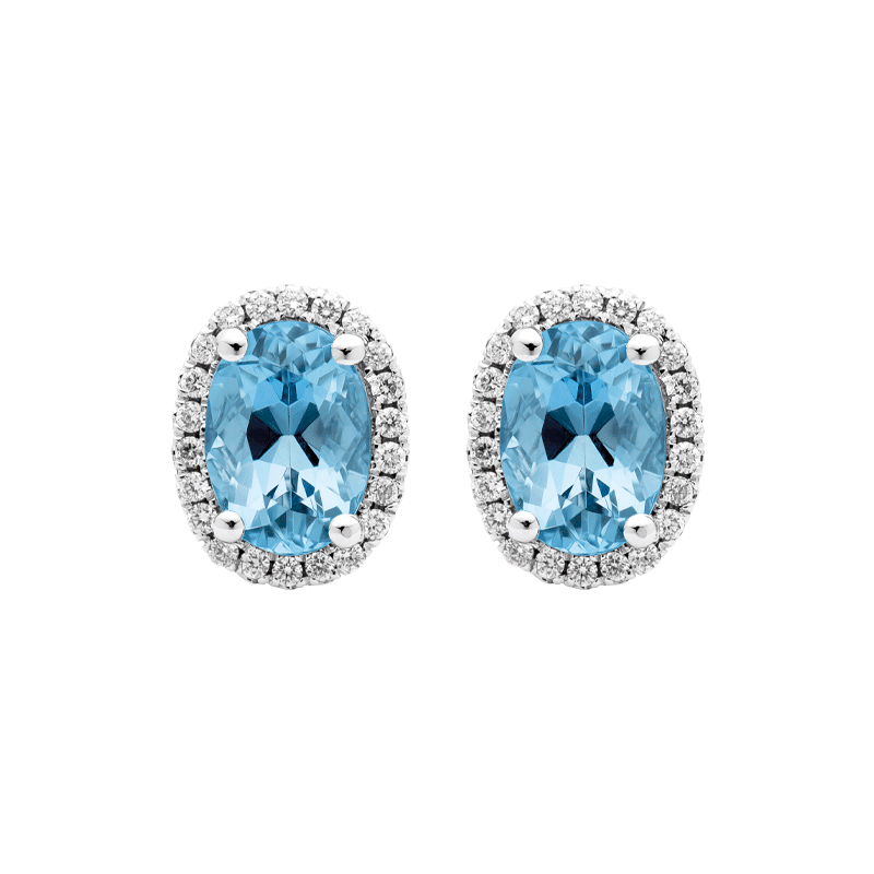 A Vibrant Pair of Aquamarine Stud Earrings