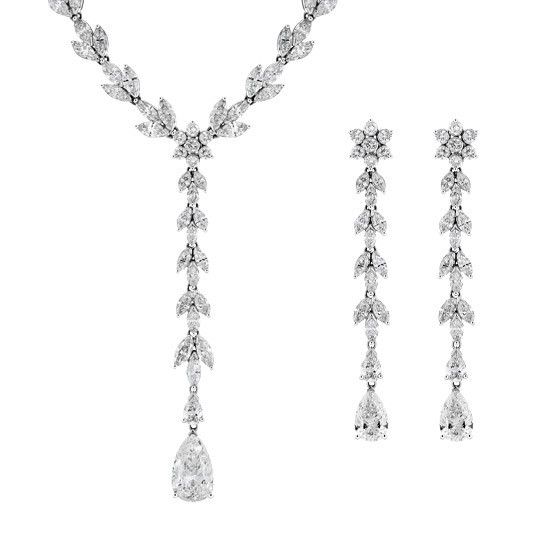 Mixed Cut Necklace & Earring Suite