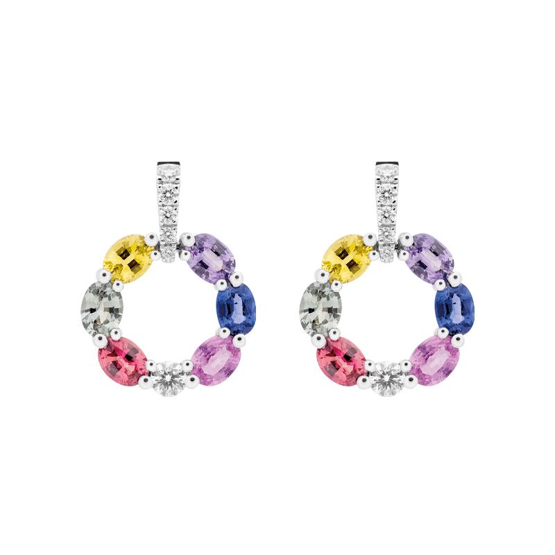 Rainbow Sapphire Circular Earrings