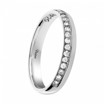 Mediumweight Classic Court, Diamond Set, 18ct White Gold