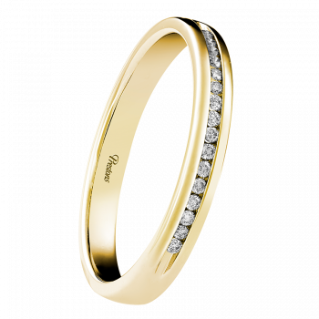 Light-Medium Classic Court, Diamond Set, 18ct Yellow Gold