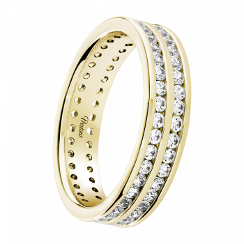 Rolled-Edge, Diamond Set, 18ct Yellow Gold
