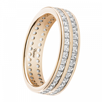 Rolled-Edge, Diamond Set, 18ct Rose Gold