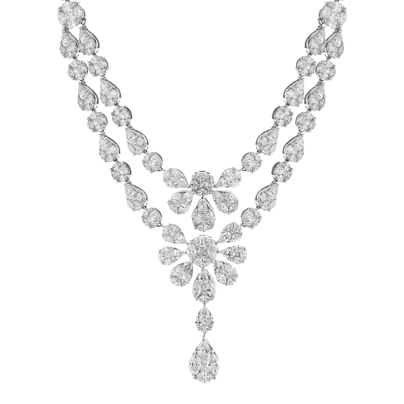 Detachable Two Row Mixed Cut Diamond Collar
