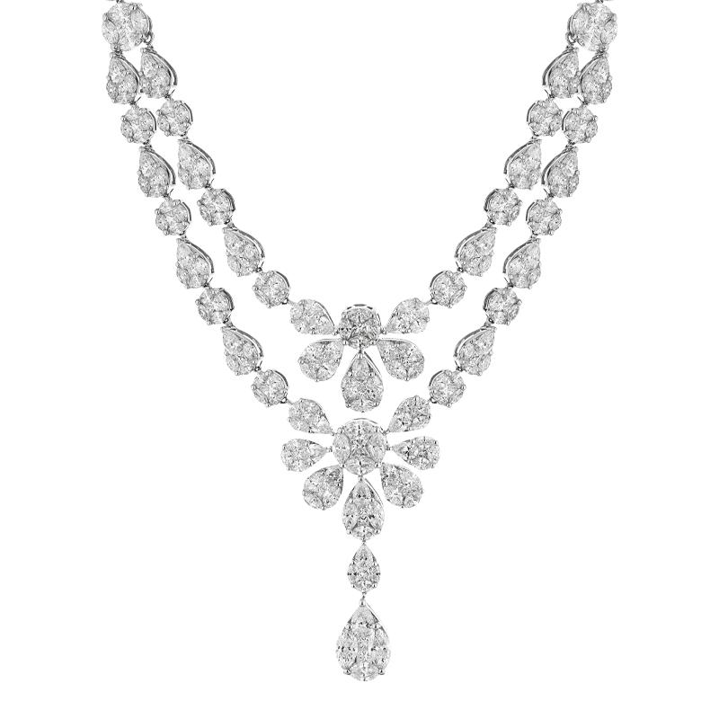 A Detachable Two Row Mixed Cut Diamond Collar