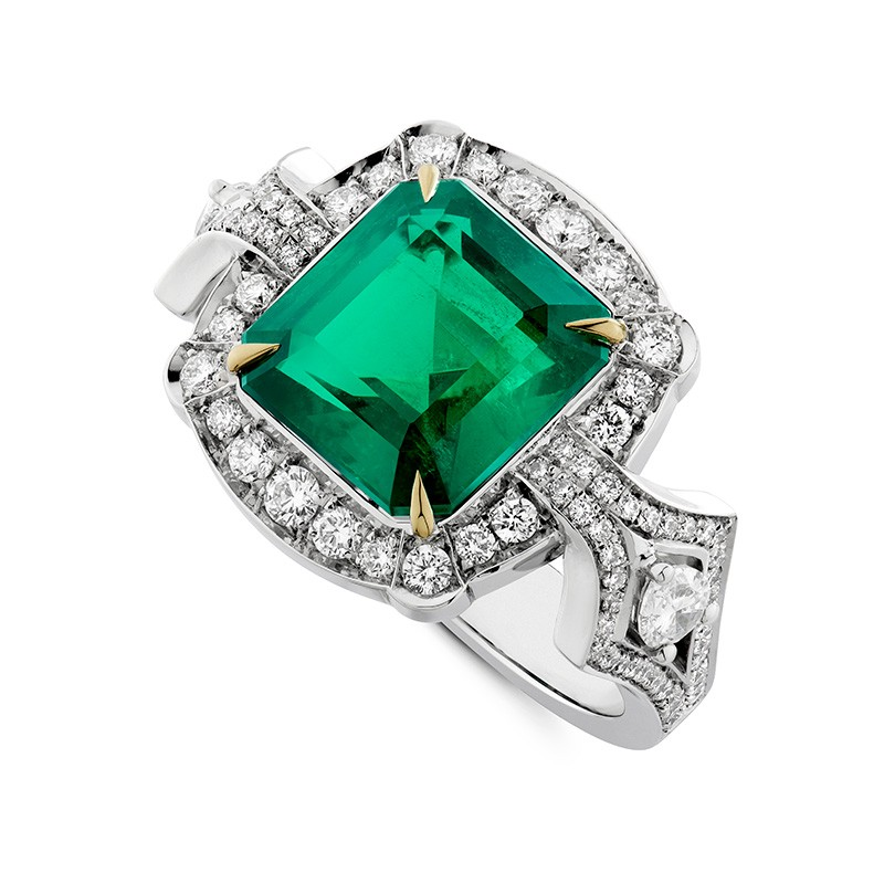 An Octagon Cut Vintage Emerald Cluster