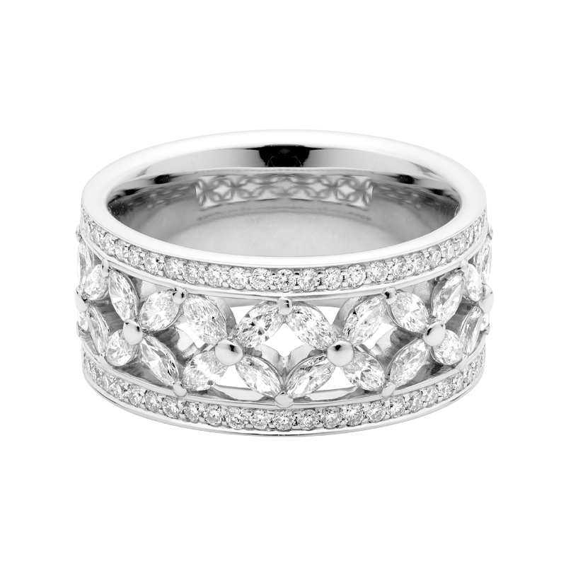 A Floral Inspired Marquise & Round Brilliant Cut Diamond Ring