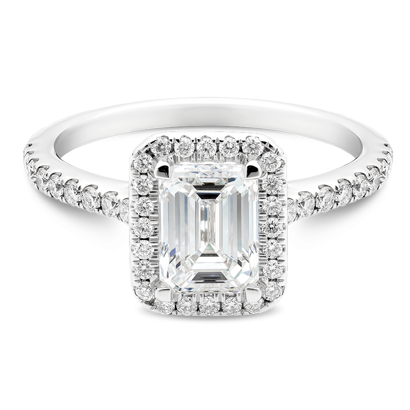 Emerald Cut Classic Halo, Platinum