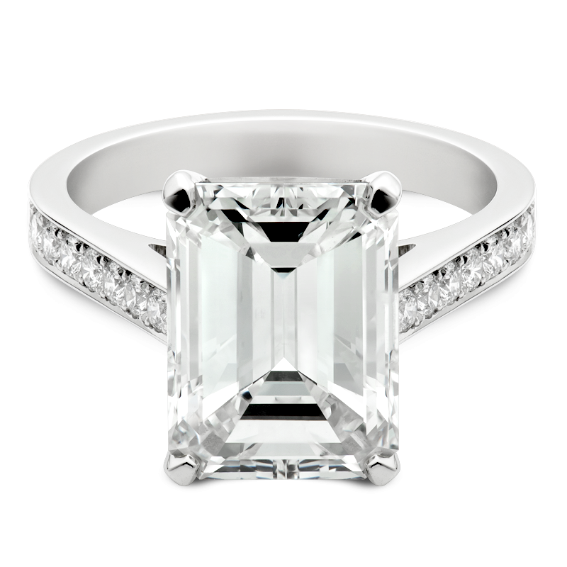 5.03ct Emerald Cut Set With Shoulders, Masterpiece