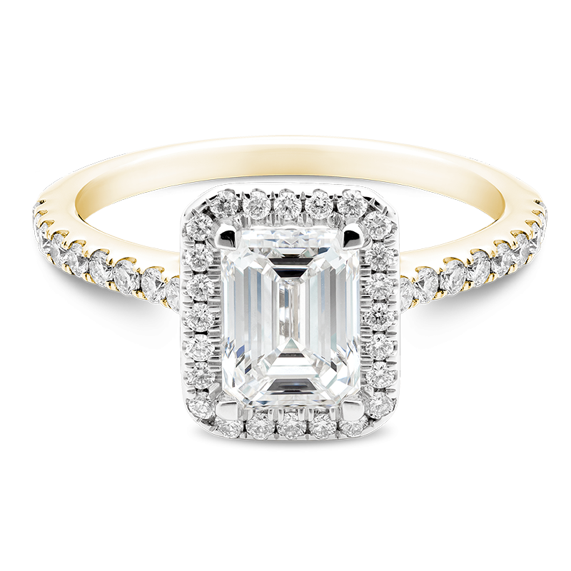 Emerald Cut Classic Halo, 18ct Yellow Gold