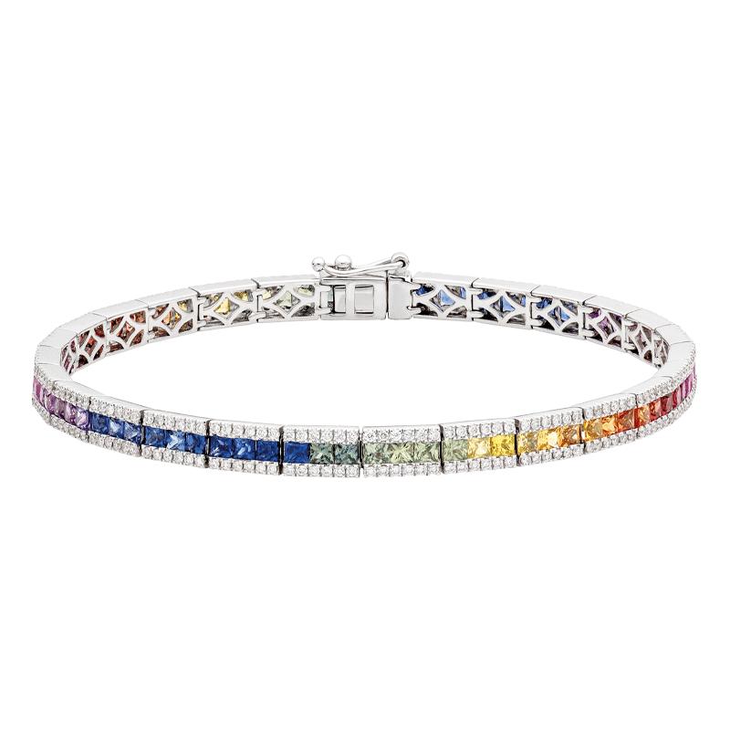 Rainbow Sapphire Three Row Line Bracelet