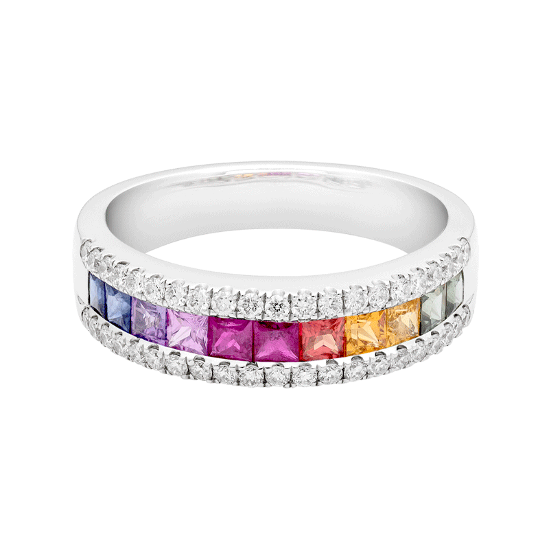 A Rainbow Sapphire Dress Ring