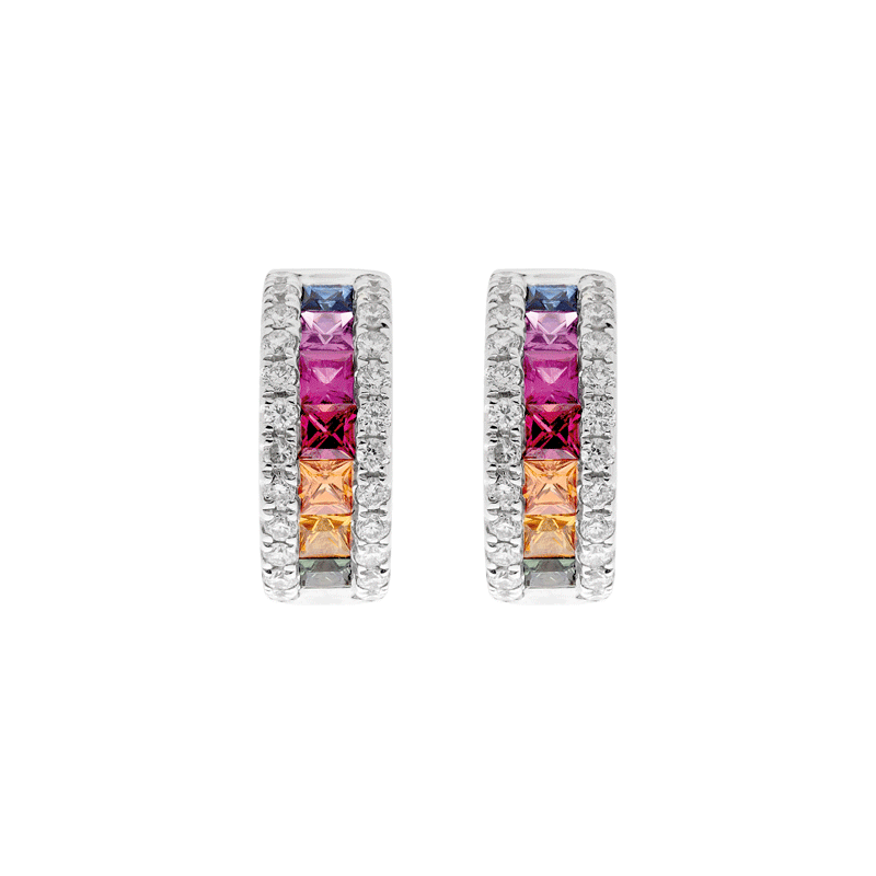A Pair of Rainbow Sapphire Straight Earrings