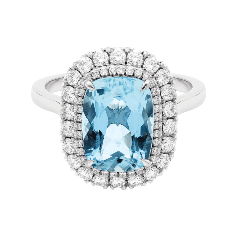 A Cushion Cut Aquamarine with a Double Halo Surround