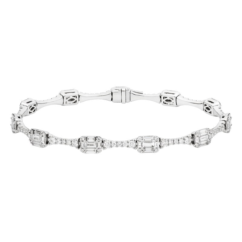 Mixed Cut Diamond Tennis Bracelet
