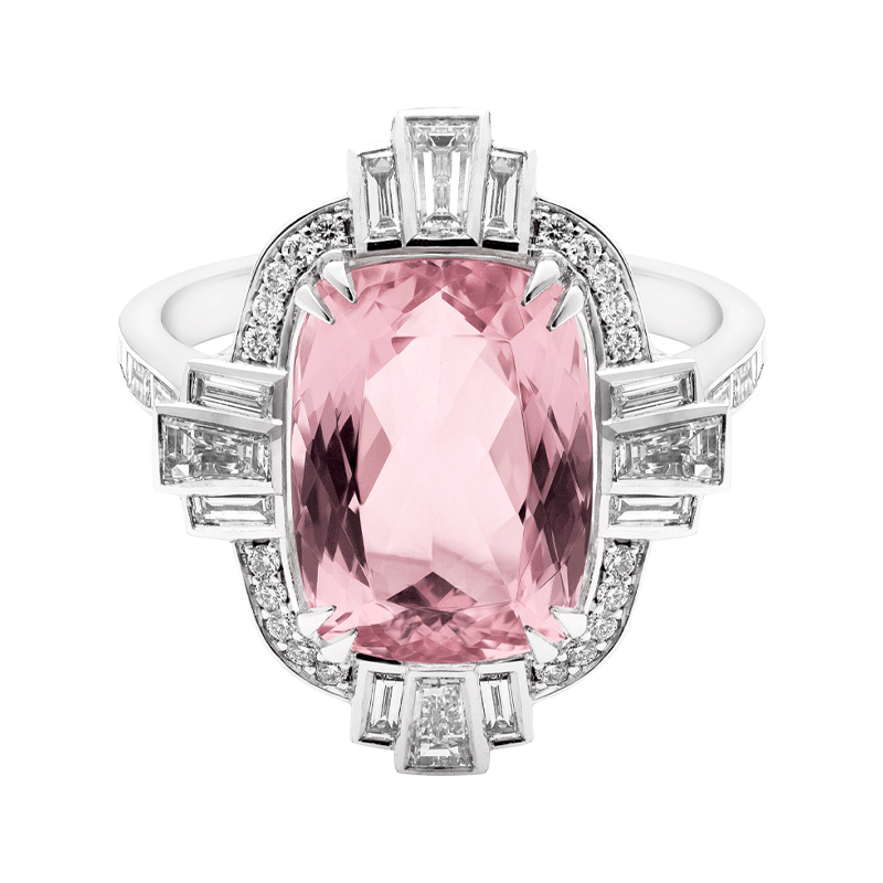 Art Deco Inspired Morganite Dress Ring