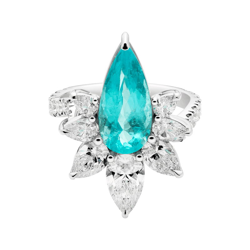 A Striking Pear Cut Paraiba Tourmaline, The Orchid Suite