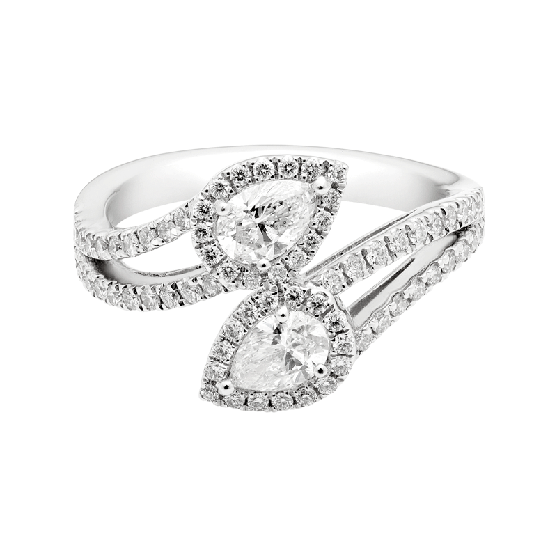 A Modern Pear Cut Diamond Crossover Dress Ring