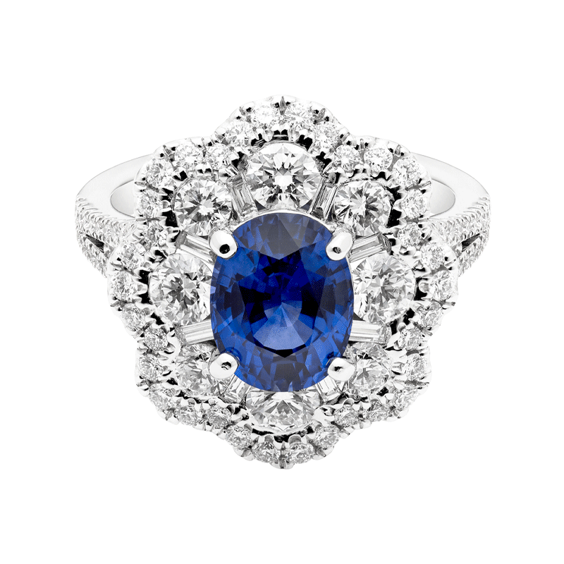 An Oval Cut Blue Sapphire with a Floral Inspired Halo
