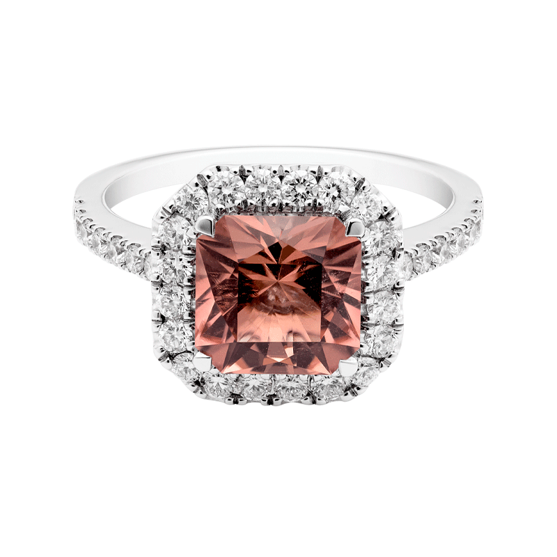 A Cushion Cut Peach Tourmaline Dress Ring