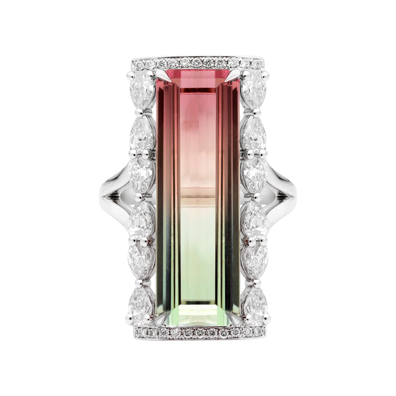 An Octagon Cut Watermelon Tourmaline