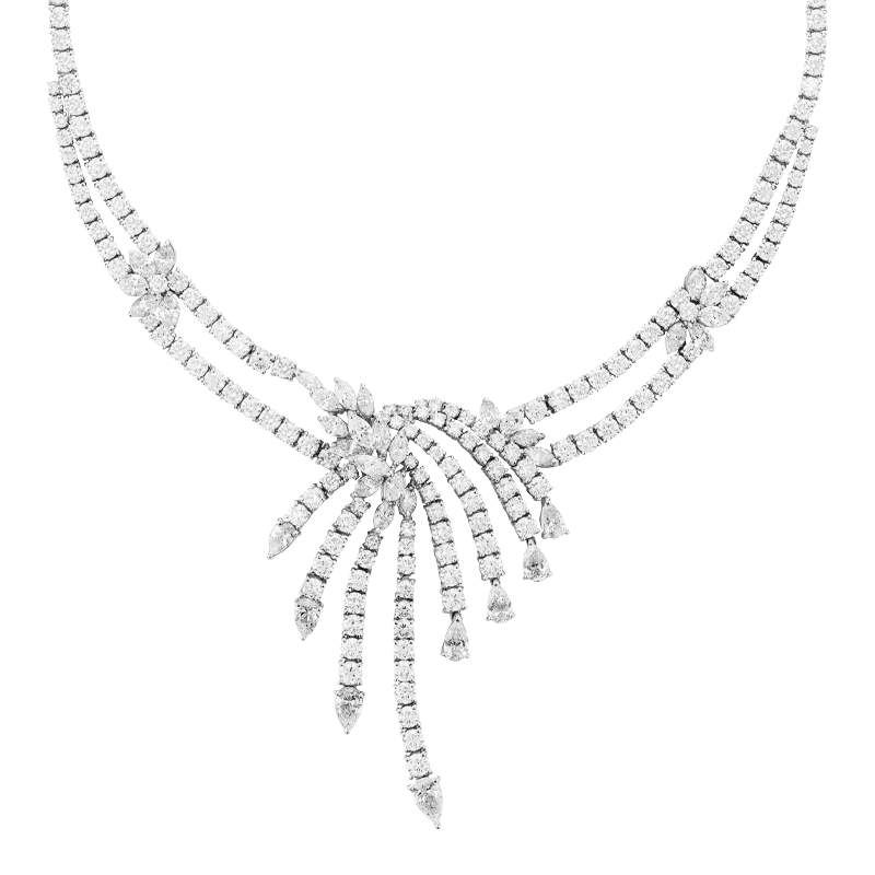 Art Deco Inspired Mixed Cut Diamond Collar