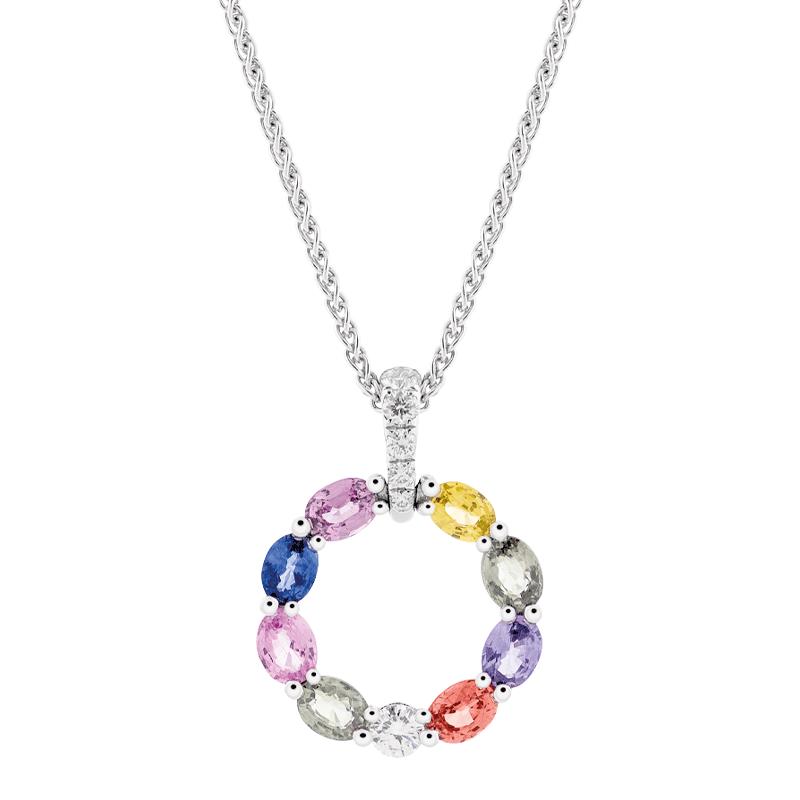 Rainbow Sapphire Open Circle Pendant