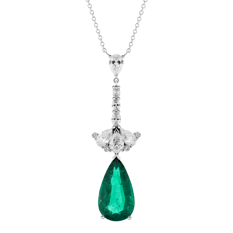 Pear Cut Emerald & Diamond Pendant