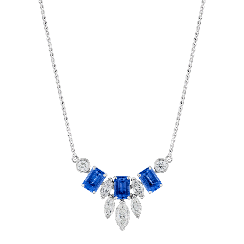 Mixed Cut Tanzanite & Diamond Pendant