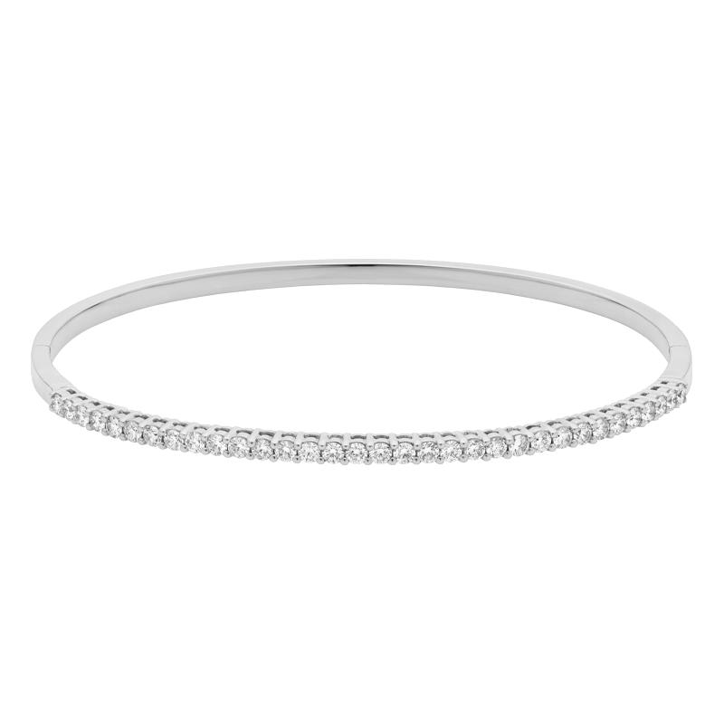 18ct White Gold Round Brilliant Cut Diamond Bangle