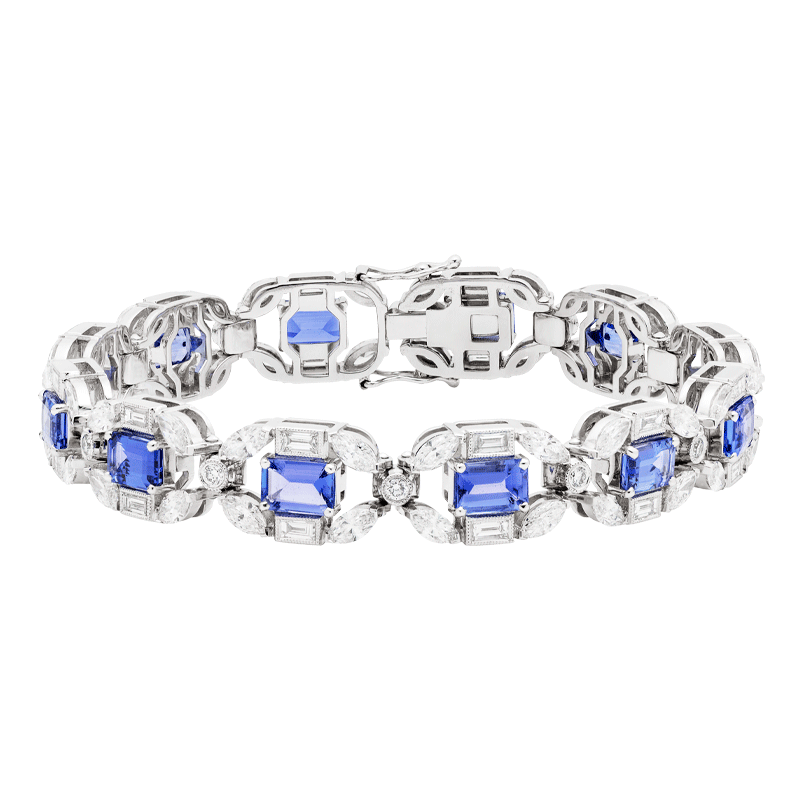 Emerald Cut Tanzanite & Diamond Line Bracelet