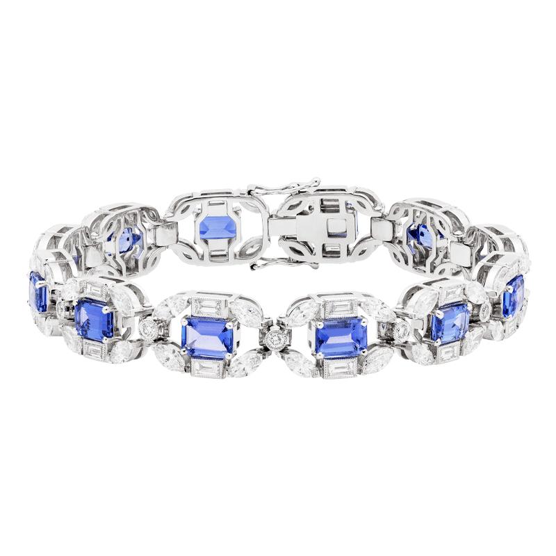 Emerald Cut Tanzanite & Diamond Line Bracelet