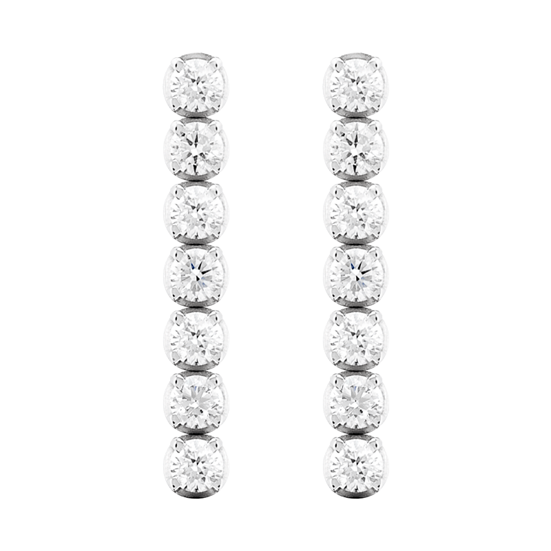 A Pair of Round Brilliant Cut Drop Earrings