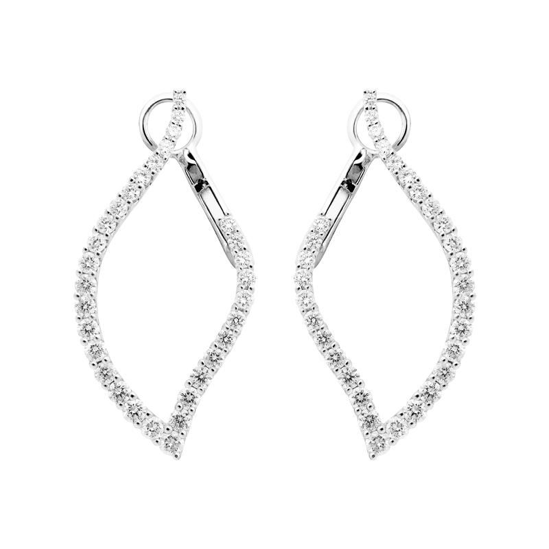 A Pair of Graduated Shaped Diamond Drop Earrings