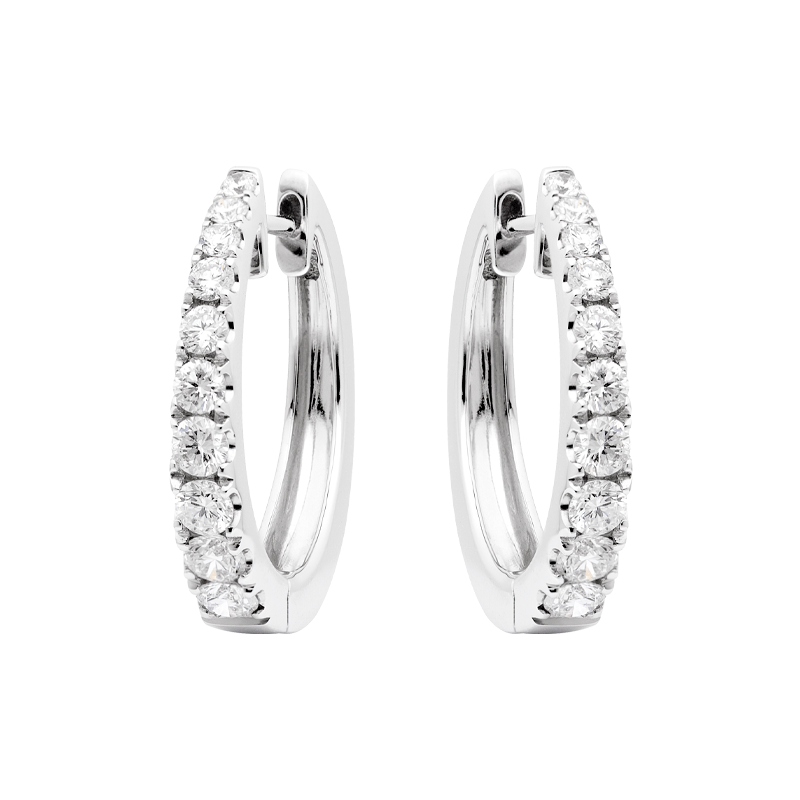 A Pair of Classic Claw Set Diamond Hoop Earrings