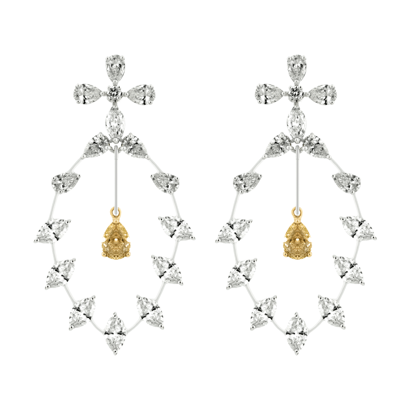 A Pair of Intricate Open Drop Set Earrings