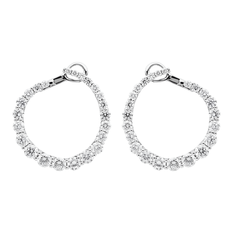A Pair of Open Circle Diamond Earrings