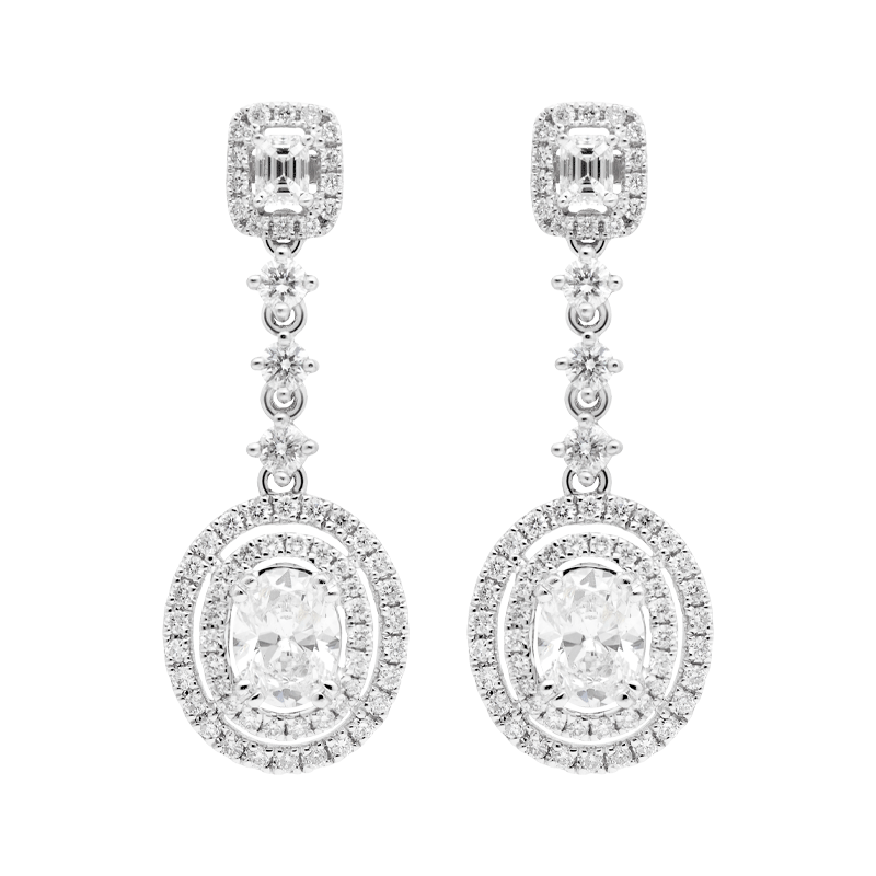 A Pair of Double Halo Oval Shaped Drop Earrings