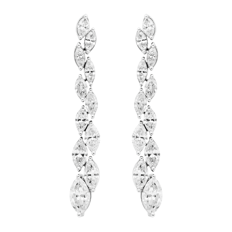 A Pair of Marquise Diamond Drop Earrings