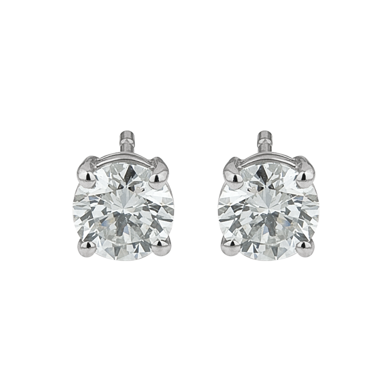A Classic Pair of Round Brilliant Diamond Studs
