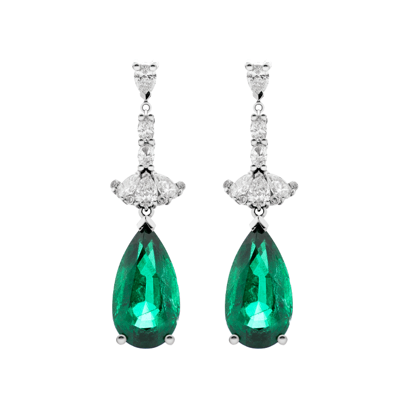 A Pair of Pear Cut Emerald Earrings, The Plié Suite