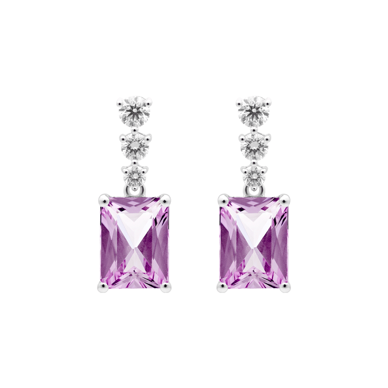 A Pair of Emerald Cut Kunzite Earrings