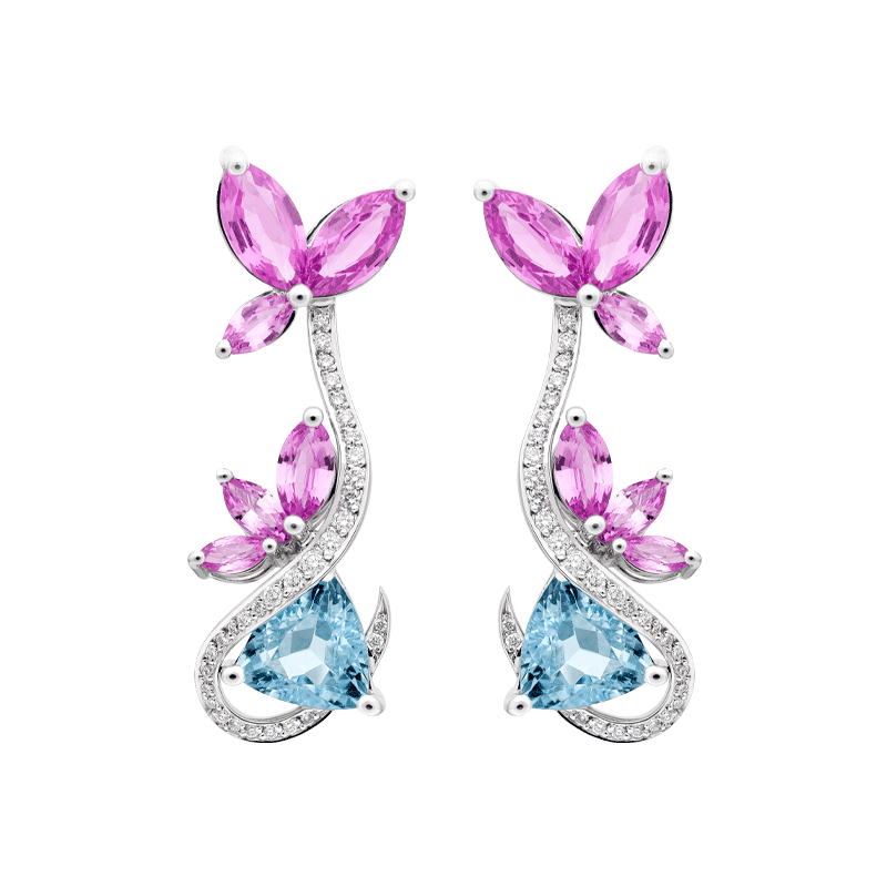 A Vibrant Pair of Floral Inspired Drop Earrings