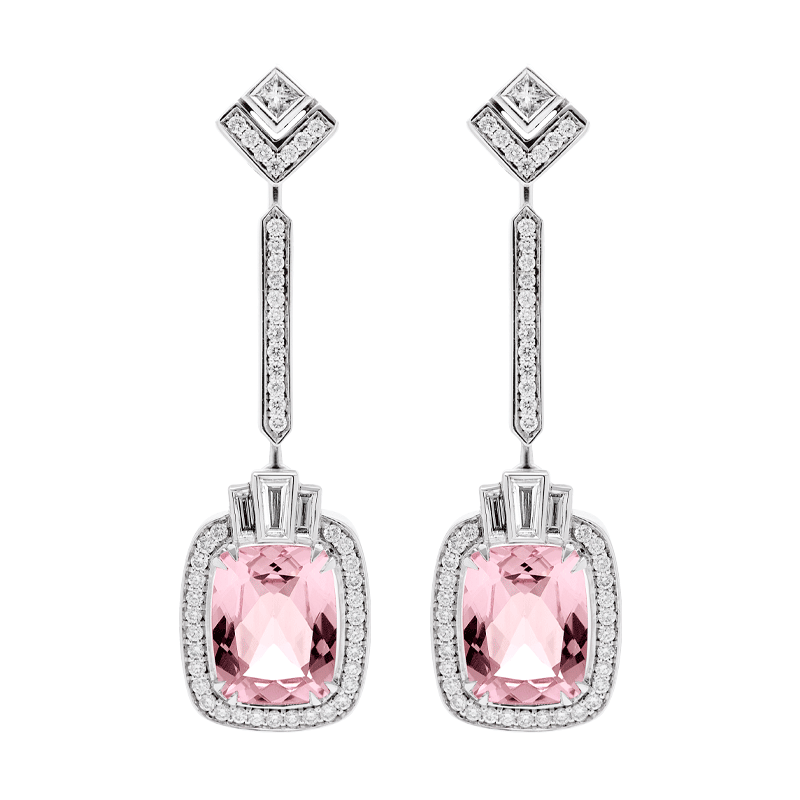 A Pair of Art Deco Inspired Morganite Earrings