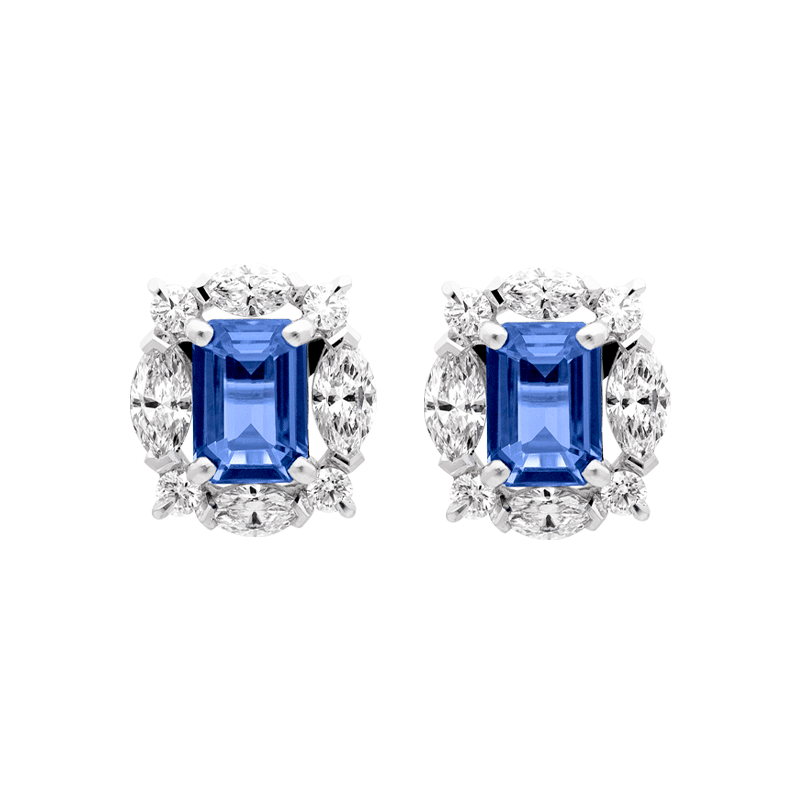 A Pair of Tanzanite & Diamond Ear Studs