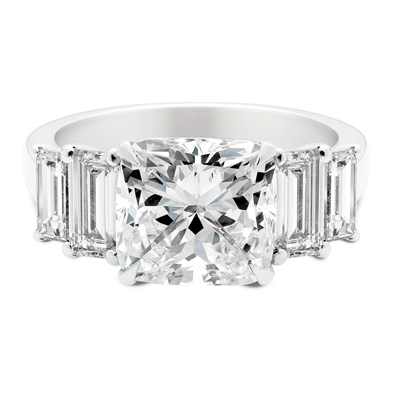 A Five Stone Cushion, Asscher & Baguette Cut Diamond Dress Ring