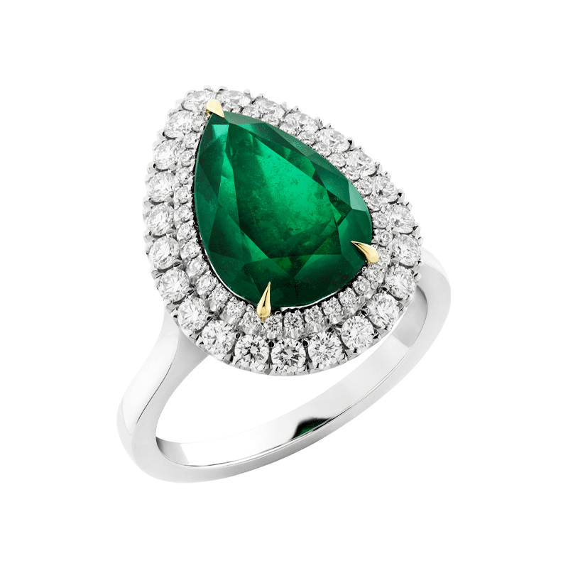 Pear Cut Emerald set with Double Diamond Halo