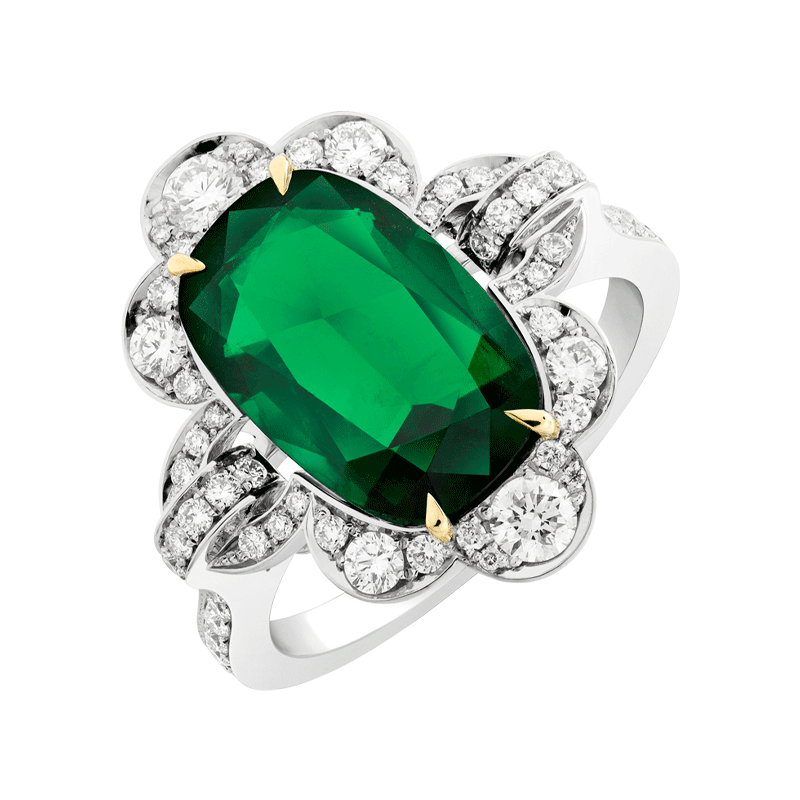 A 4.09ct Oval Cushion Cut Emerald set with Diamond Shoulders